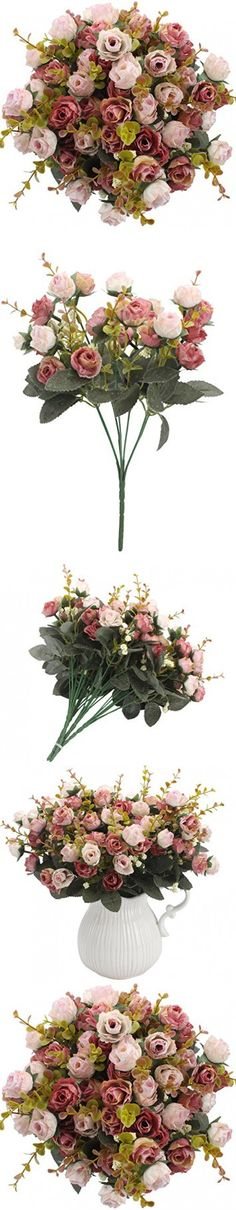 Duovlo 7 Branch 21 Heads Artificial Silk Fake Flowers Rose Wedding Floral Decor Bouquet,Pack of 2 (Pink Coffee)