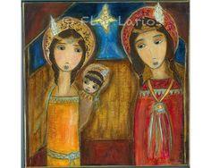 Native American Nativity  Folk Art 7 x 7 inches by FlorLarios, $15.00