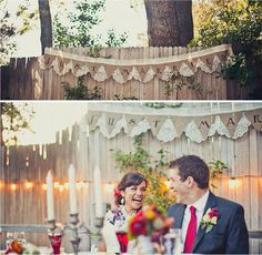 """Doilies are often used as bunting. I love this example where the doilies serve as the backdrop of a """"Just Married"""" banner."""