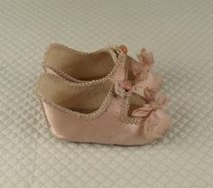 RARE Small Size '5' Antique Original French JUMEAU Silk Satin Shoes from mybebes on Ruby Lane