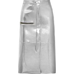 Golden Goose Deluxe BrandLeslie Lamé Skirt ($475) ❤ liked on Polyvore featuring skirts, silver, mid calf skirts, golden goose, wet look skirt, a line midi skirt and knee length a line skirt