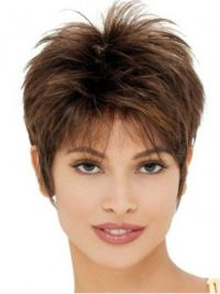 Cheap Brown Straight Cropped Synthetic Wigs, Black Synthetic Hair False