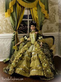 """https://flic.kr/p/nnm9HD   Fashion Royalty FR16  OOAK Outfit """"Madame de Pompadour"""" by Natalia   Have finally finished this Big Project!  I have made the dress similar to Madame de Pompadour's  dress from Boucher Francois's picture. The dress fits FR16 and Tonner Tyler and Antoinette (pictures will be on Flickr soon)  All composition (the dress, loveseat and diorama)   will be available on Ebay   soon."""