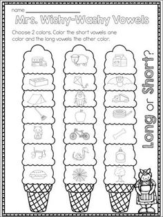 FREE Mrs Wishy-Washy long and short vowels activity: