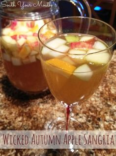 Wicked Autumn Apple Sangria - the original! Honeycrisp apples, pears, apple cider, vanilla vodka, wine and a crazy secret ingredient. SO GOOD!!!