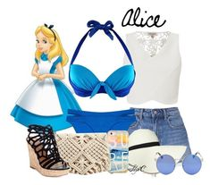 Alice - Summer / Beach - Disney's Alice in Wonderland Disney Bound Outfits, Disney Dresses, Hipster Outfits For Teens, Cute Outfits, Disney Bathing Suit, Alice In Wonderland Outfit, Alice Cosplay, Estilo Disney, Disney Inspired Fashion