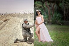 Pregnant Wife Incorporates Deployed Air Force Husband in Beautiful Maternity Shoot: 'I Miss Him' Frau Photoshops entsandte Ehemann in Mutterschaft Pics Maternity Pictures, Pregnancy Photos, Birth Photos, Fotos Baby Shower, Baby Announcement To Husband, Military Pregnancy Announcement, Deployment Pregnancy, Military Maternity, Military Couples
