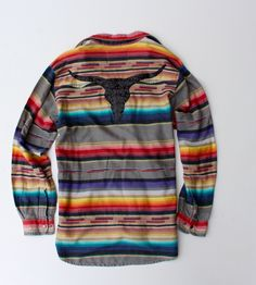 Vintage Serape Mexican Blanket Flannel Shirt With Sequin Longhorn Patch