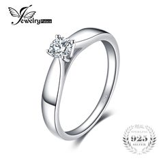 JewelryPalace Lovely Engagement Solitaire Ring 925 Sterling Silver Rhodium Plated Wedding Jewelry For Girl On Sale Gold And Silver Rings, Silver Wedding Rings, Wedding Jewelry, Wedding Band, Wedding Dress, Simple Jewelry, Jewelry Rings, Trendy Jewelry, Silver Jewelry