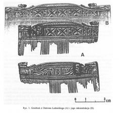"Decorative comb found in Ostrów Lednicki, Poland. Timeline: c. 11th century.Source: Janusz Górecki: ""Rzeźbiony grzebień z Ostrowa Lednickiego - próba interpretacji"", 2000"