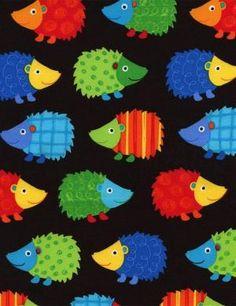 Timeless Treasures, Hedgehogs on Black Fabric - Half Yard Woodland Illustration, Hedgehog Illustration, Cute Hedgehog, Japanese Cotton, School Decorations, Spring Blooms, Classroom Themes, Woodland Animals, Black Fabric