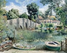 """""""Summer, Stopham Bridge"""" (Sussex) by Stanley Roy Badmin, 1962 English Artists, British Artists, Little Britain, Cityscape Art, Comic Pictures, Illustrations And Posters, Beautiful Paintings, House Painting, Travel Posters"""