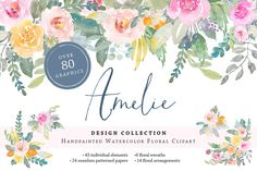 Handpainted Watercolor Floral Flowers Clipart Collection Download