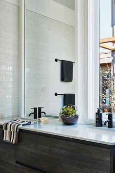 Hamlan Homes bathroom New Builds, Inspired Homes, Double Vanity, Oversized Mirror, Tiles, House Design, Bathrooms, Inspiration, Furniture