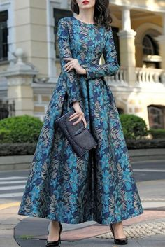 2016 New Retro Autumn Winter Jacquard Dress Slim Waist Women Elegant O Neck Slim Long Dress Plus Size Modest Dresses, Elegant Dresses, Cute Dresses, Beautiful Dresses, Maxi Dresses, Maxi Skirts, Long Dresses, Muslim Fashion, Modest Fashion