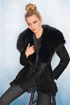 Black Waterfall Sheepskin Jacket- warm as you can get ! Could just ...