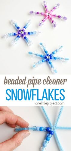 These beaded pipe cleaner snowflakes are such an awesome low mess winter craft idea! They're so easy to make that the kids will actually be able to make them by themselves! They make fantastic Christmas ornaments, and you could even hang them in the window. Winter Crafts For Kids, Easy Crafts For Kids, Craft Activities For Kids, Toddler Crafts, Preschool Crafts, Winter Activities, Snowflakes For Kids, Snowflake Craft, Beaded Snowflake