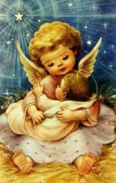 Vintage Christmas Scrap Card Little Angel Baby Jesus Stars Religious Christmas Scenes, Christmas Nativity, Christmas Pictures, Christmas Angels, Christmas Art, Christmas Greetings, Christmas Poinsettia, Crochet Christmas, Xmas