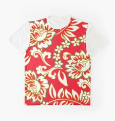 Tropical Eggnog Punch Printed Shirts by PolkaDotStudio, #vintage #retro inspired #tropical #Hawaiian #fabric #floral #designs in #holiday #red #green and #gold #art on #trendy #fashion #apparel #original #shirts #tops for #leisurewear #her #him #parties or great #gifts.