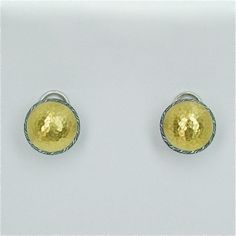 Sterling Silver layered with Blackened Silver and 24K Gold, Round Hammered Earrings by GURHAN
