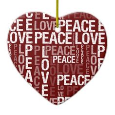 Peace Love Typography Christmas ornament