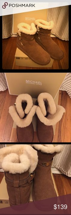 Reduced⬇Michael Kors Sandy Bootie Super warm, comfy and stylish at once, a must have in every fashionistas closet!!! New, never worn, with original box. Suede leather upper, rubber sole, genuine sheepfur lining. Open to reasonable offers!✅✅✅ Michael Kors Shoes Ankle Boots & Booties