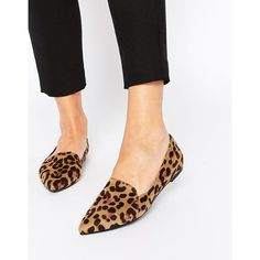 ASOS LIVE A LITTLE Pointed Ballet Flats ($28) ❤ liked on Polyvore featuring shoes, flats, leopard, pointed flats, pointed toe flats, pointed ballet flats, ballet shoes and leopard print flats