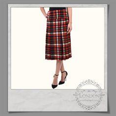 #Midi #Length #Tartan #Check #Skirt