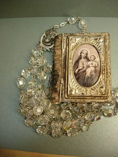 ANtique French Glass Rosary box necklace with rosary inside Mary Portrait