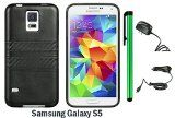 SAMSUNG GALAXY S5 TPU IMD LEATHER FINISH CASE WITH CARBON FIBER STRIPS + Travel (Wall) Charger + 1 of New Metal Stylus Touch Screen Pen (BLACK / BLACK)  Hot New Electronic Product.