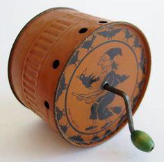 Vintage German Halloween Party Tin Litho Witch Warlock Owl Noisemaker | eBay
