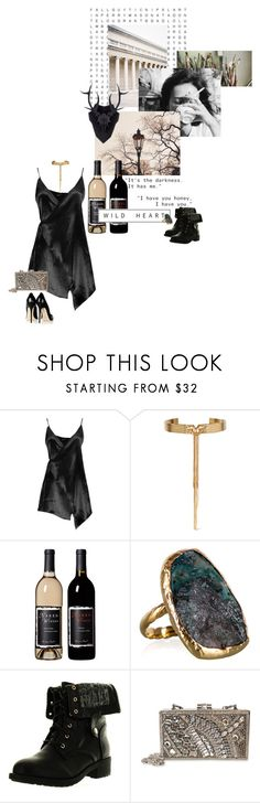 """black satin journey"" by summersdream ❤ liked on Polyvore featuring me you, Boohoo, Eddie Borgo, Jimmy Choo, Gara Danielle, Refresh and Mary Frances Accessories"