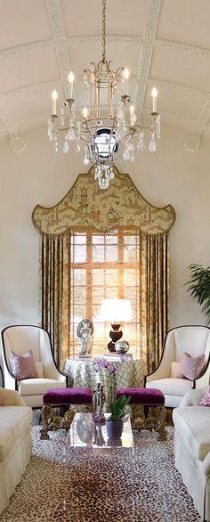 "Texas Designer Audrey Curl of Ornamentations Design. Chinoiserie pelmet features Scalamandre ""Ping"" - Century chairs"