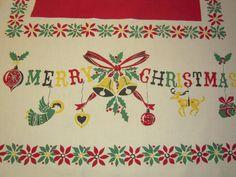 Vintage MERRY CHRISTMAS Tablecloth Shiny Brites by unclebunkstrunk, $59.99