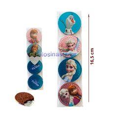 BOLSITA CELOFAN con 4 MONEDAS CHOCOLATE FROZEN es una bolsita de 4.5cm de ancho con 4 monedas de chocolate envueltas con los personajes de la película Frozen. Se vende 1 bolsita con 4 monedas.