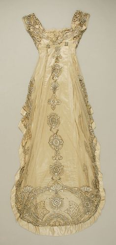 House of Weeks, Embroidered Ecru Silk Evening Dress, French, c. 1911 (Back View Showing Train). Gorgeous.