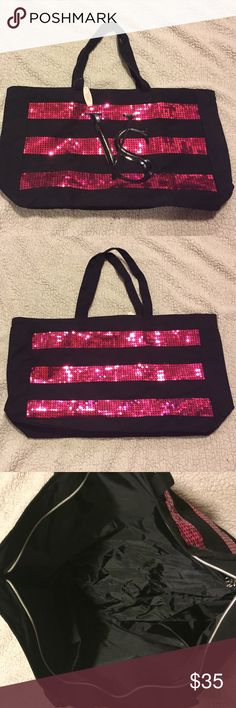 "NWT Victoria's Secret tote NWT Large, black and pink Victoria's Secret tote bag. The hot pink stripes are sequins. The VS in the middle is paten leather. Measures: approximately 19"" wide, 13"" tall, 6"" deep with strap drop of 9.5"". Super cute and I'm perfect condition!! Victoria's Secret Bags Totes"