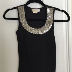 Sequin tank Black with silver sequin tank top - worn once MICHAEL Michael Kors Tops Tank Tops