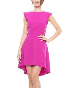 Lisa Moretti Fuchsia Cap-Sleeve Hi-Low Dress by Lisa Moretti #zulily #zulilyfinds
