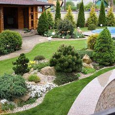 Design in Small Residential Parks, Coolness Eliminates Stress! Back Garden Design, Front Yard Design, Garden Landscape Design, Driveway Landscaping, Modern Landscaping, Outdoor Landscaping, Landscaping Ideas, Terrace Garden, Instagram
