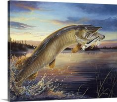 Terry Doughty Solid-Faced Canvas Print Wall Art Print entitled Twilight Muskie, None Gone Fishing, Kayak Fishing, Fishing Poles, Wildlife Paintings, Wildlife Art, Best Fishing Times, Bass Fishing Pictures, Illustrations Vintage, Fish Artwork