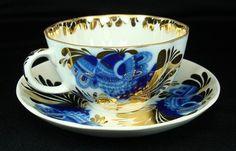 Vtg Leningrad USSR Lomonosov Tea Cup Saucer Set Flow Blue Bird Gold Gilt | eBay