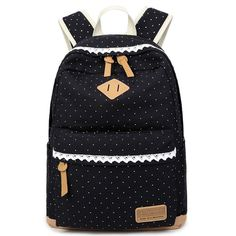 Wow! Cute Lace Large Capacity Dot Travel Wave Point Girl's College Canvas Backpack only $32.99 from Atwish.com! I like it so much!!