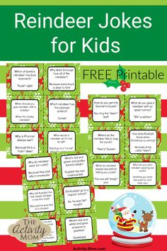 My kids love jokes and so do I! You will love these free, printable reindeer jokes for kids. Use them in lunch boxes or to share during dinner. Christmas Jokes For Kids, Christmas Activities For Kids, Printable Activities For Kids, Christmas Mom, All Things Christmas, Christmas Crafts, Christmas Games, Christmas Printables, Free Printables