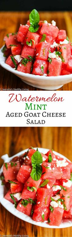 Watermelon Mint Aged Goat Cheese Salad - sweet and salty, this refreshing summer salad has just 3 ingredients ~ http://jeanetteshealthyliving.com