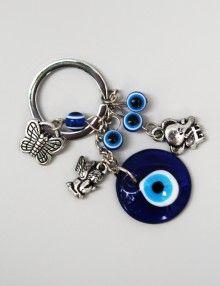 Marturie botez breloc cu margele albastre Personalized Items
