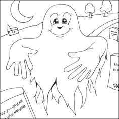 Free Coloring Pages For Adults halloween | Ghost colouring picture