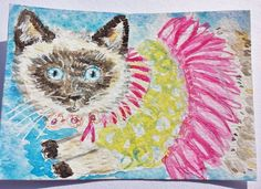 Carebear  cat  new  Valentines Day dress  watercolor  double ACEO  size 5 by 7