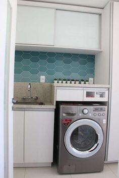 azulejo lavanderia azul degrade 501 arquitetura 77585 - Viva Decora