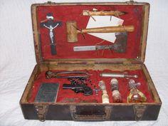 "Vampire Hunting Kit - HA, I can see it now ""Annie Londonderry Vampire Hunter"" Ouija, Zombies, Derringer Pistol, La Danse Macabre, New Testament Bible, Real Vampires, Vampire Hunter, Werewolf Hunter, Assemblage Art"